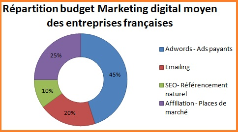 Répartition budget marketing digital des entreprises françaises